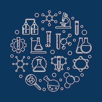 Education and chemistry outline round icon illustration