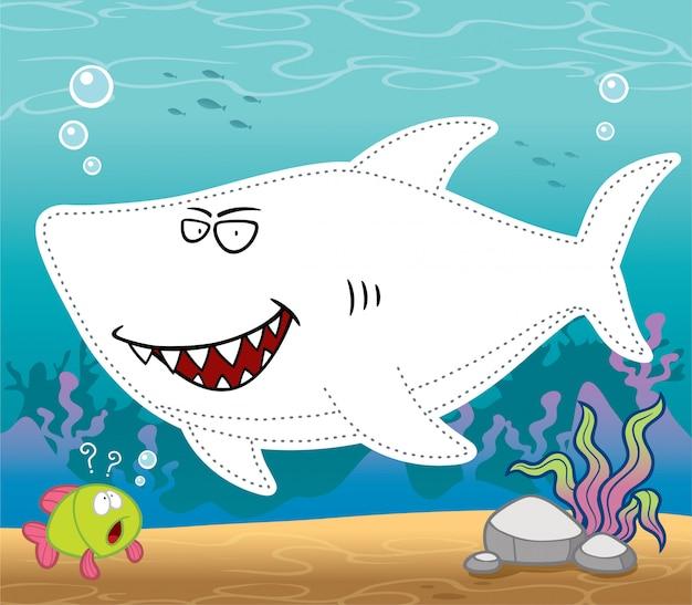 Education for children the line dot - shark