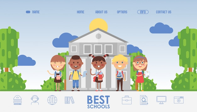 Education for children, school website design. landing page template, kids cartoon characters in flat style. happy schoolchildren in international class