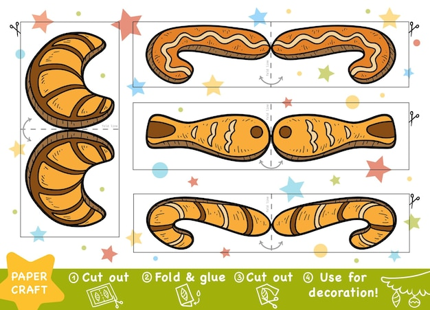 Education christmas paper crafts for children cookies use scissors and glue to create the image