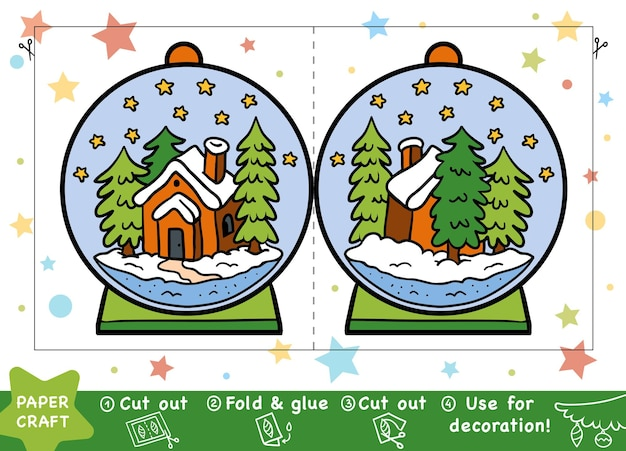 Education christmas paper crafts for children snowball with a house