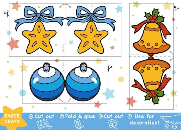 어린이, 크리스마스 벨, 크리스마스 공, 크리스마스 스타를 위한 교육 크리스마스 종이 공예. 가위와 풀을 사용하여 이미지를 만듭니다.