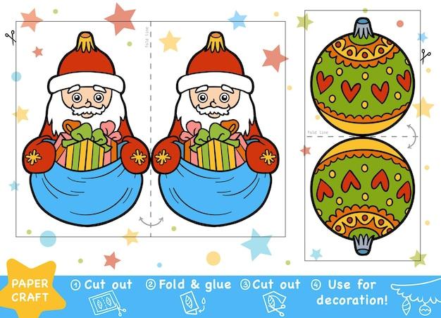 어린이 산타 클로스와 크리스마스 공을위한 교육 크리스마스 종이 공예