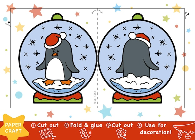 子供のための教育クリスマスペーパークラフトペンギンと雪玉