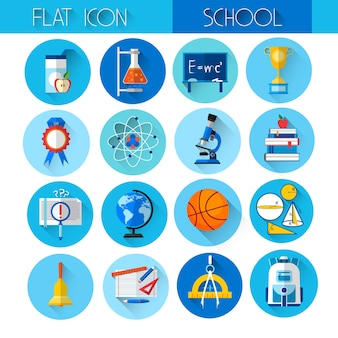 Education collection colorful school icon set
