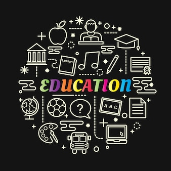 Education colorful gradient with line icons set