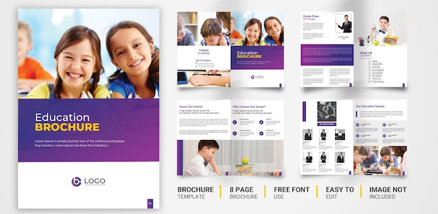 Education company brochure template premium psd