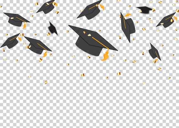Education concept background. graduation caps and confetti.  illustration