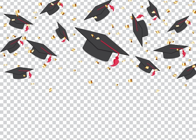 Education concept background. graduation caps and confetti.