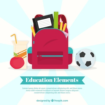 Education concept background with red bag