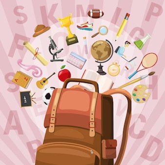 Education concept bag. cartoon illustration of education vector concept for web