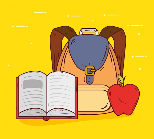교육 개념, 책 열기와 사과 과일 벡터 일러스트 레이 션 디자인 귀여운 학교 가방