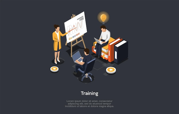 Education concept. the female speaker shows the board with infographics. male characters using laptops on the training. one of them has an idea shaped as lightbulb