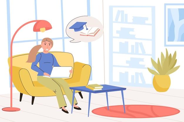 교육 개념 기말고사를 준비하는 도서관에서 숙제를 하는 여학생