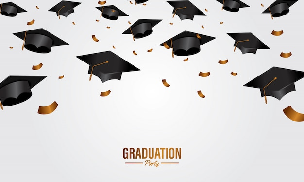 Education concept graduation party banner with cap