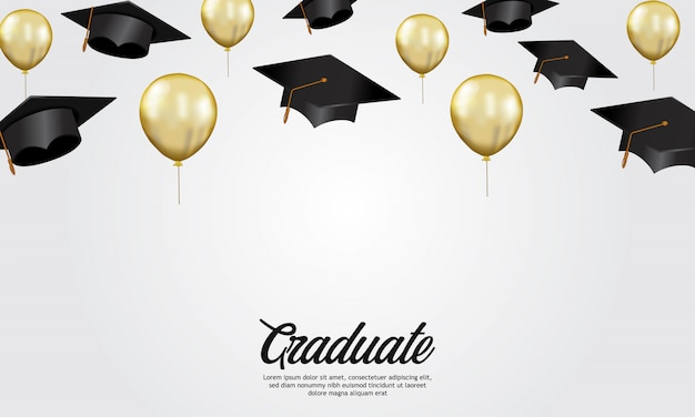Education concept graduation party banner with illustration of cap