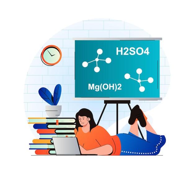 현대 평면 디자인의 교육 개념 노트북에서 수업을 공부하는 학생 여자가 읽고 있습니다