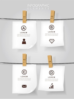 Education concept infographic template design with notes hanging on rope