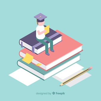 Education concept isometric background