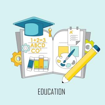 교육 개념: 선 스타일로 책에서 뛰어내리는 지식