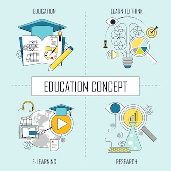 Education concept: learn to think-e learning-research in line style