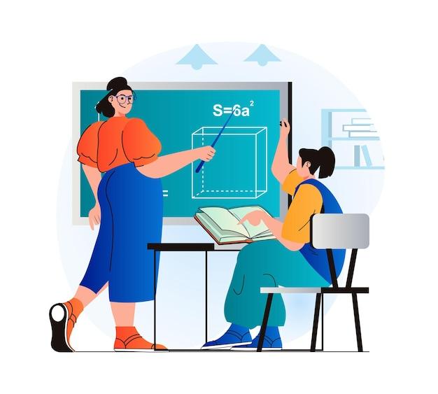 Education concept in modern flat design teacher explains lesson at blackboard pupil