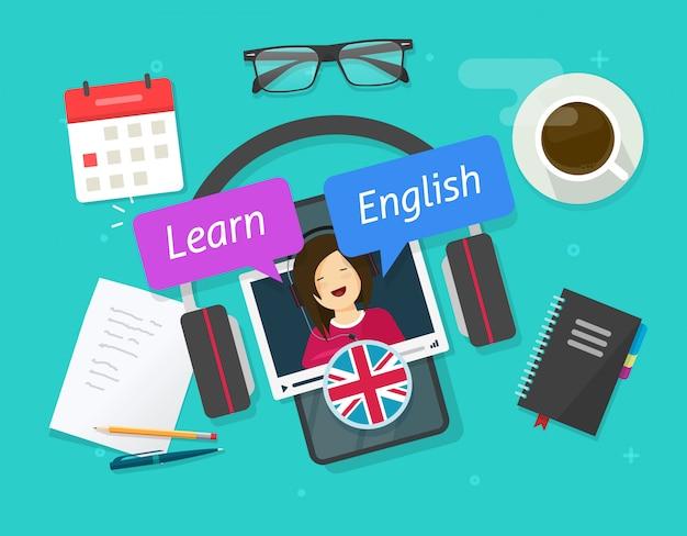 携帯電話でオンラインで英語を学ぶまたはワークデスクテーブルフラット漫画イラストをモバイルのスマートフォンレッスンで外国語を学ぶの教育概念