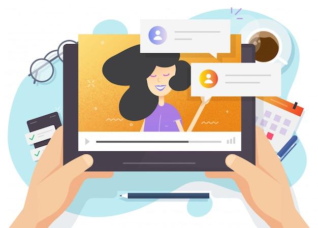 オンラインで見てタブレットコンピューターで学習するビデオウェビナーの教育概念