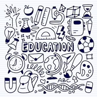 Education concept sketch with school and university study icons, doodle educations set