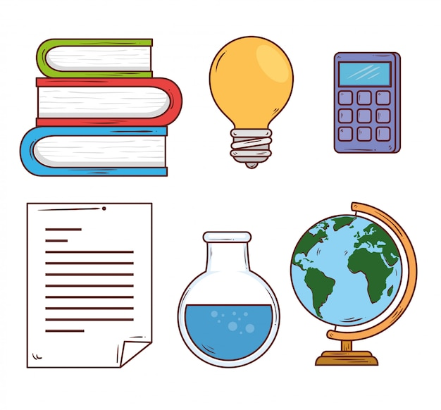 Концепция образования, стопка книг с иконами школы векторные иллюстрации дизайн