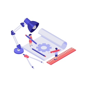 Education concept with 3d characters of pupils and stationery isometric illustration