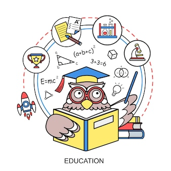 선 스타일의 올빼미와 교육 개념