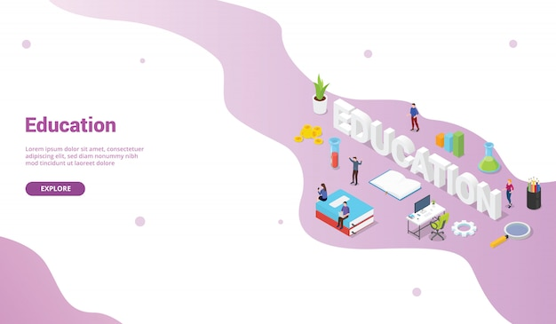 Education concept with big words text for website template or landing homepage banner with isometric flat style