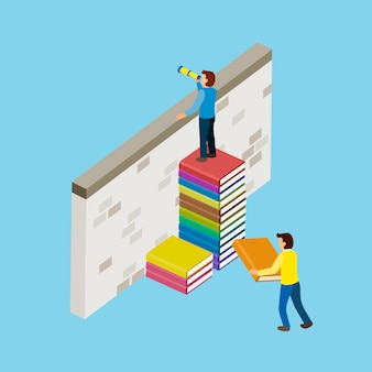 3dアイソメトリックフラットデザインの本の階段と教育の概念
