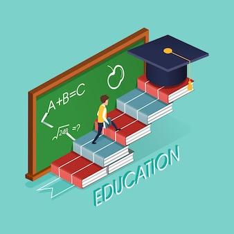 Концепция образования с книжной лестницей в 3d изометрической плоской конструкции