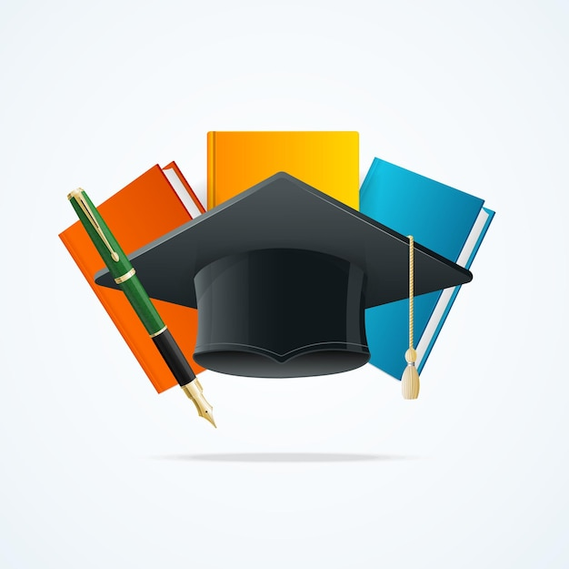 Education concept with books, pen and student hat graduated.