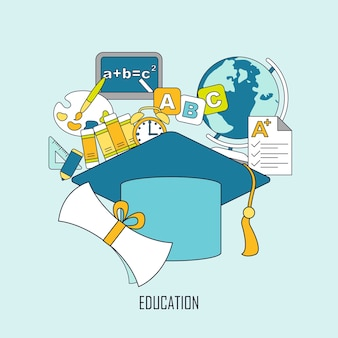 얇은 선 스타일의 졸업 모자 요소가 있는 교육 개념