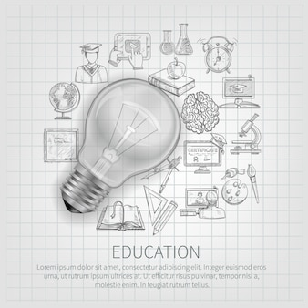 Education concept with learning sketch icons and realistic light bulb