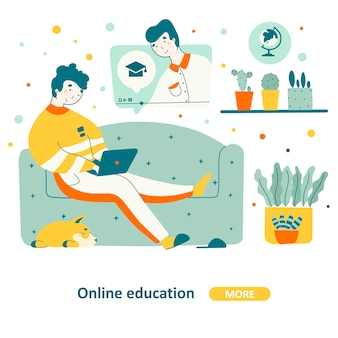 Education course home  in flat design