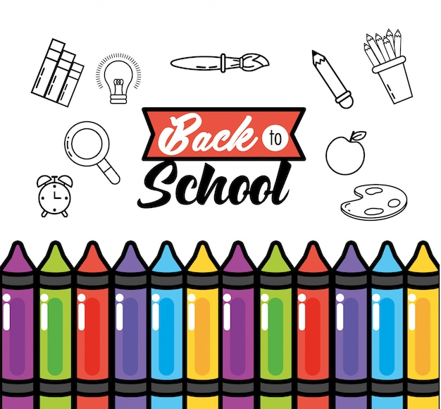 Education crayons with pencils colors supplies