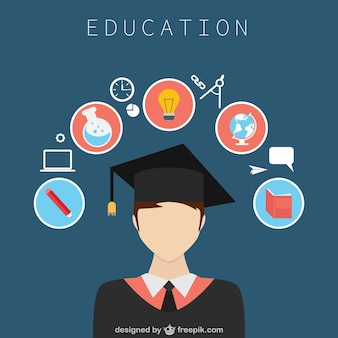 Education design with icons Free Vector