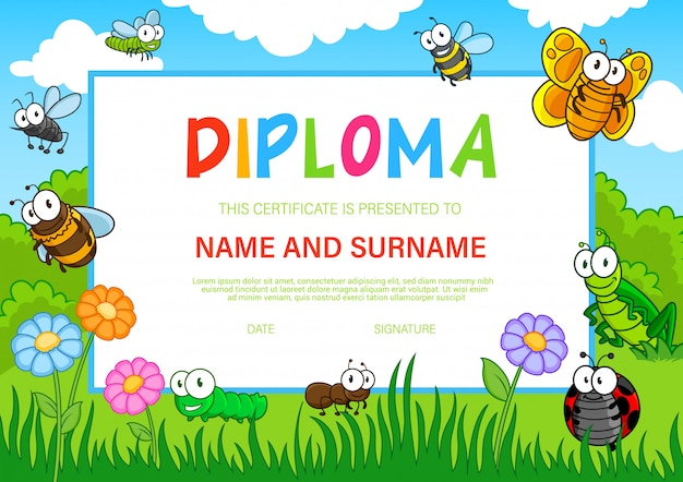 Education diploma for kindergarten with insects