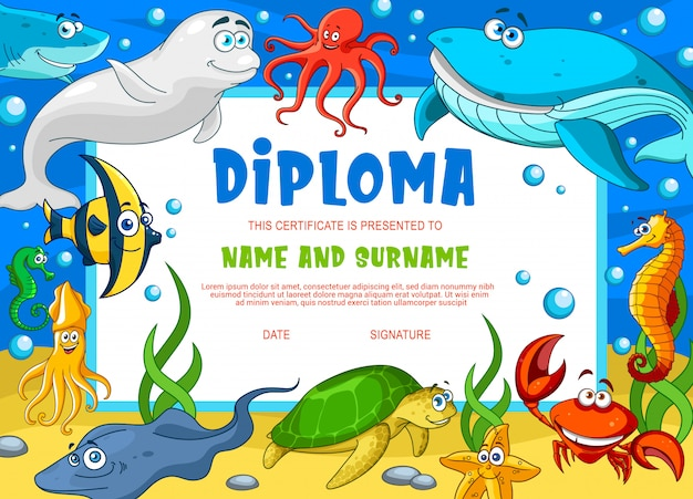Education diploma for school underwater animals