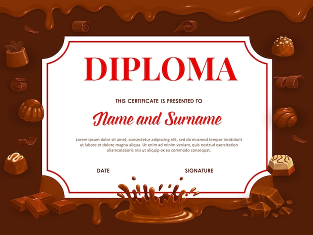Education diploma with chocolate, school or kindergarten certificate. cartoon candies and sweet desserts frame template with choco or cocoa topping, dark bitter and milk dripping chocolate