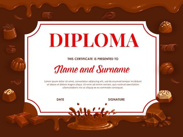チョコレート、学校または幼稚園の証明書付きの教育卒業証書。漫画のキャンディーと甘いデザートのフレームテンプレート、チョコまたはココアのトッピング、ダークビターとミルクの滴るチョコレート