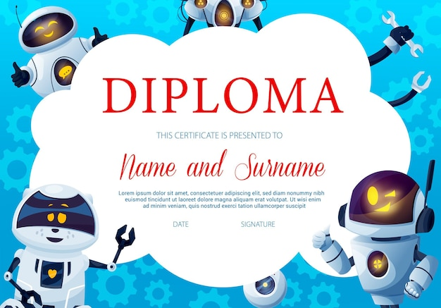 Education diploma with funny robots and gears
