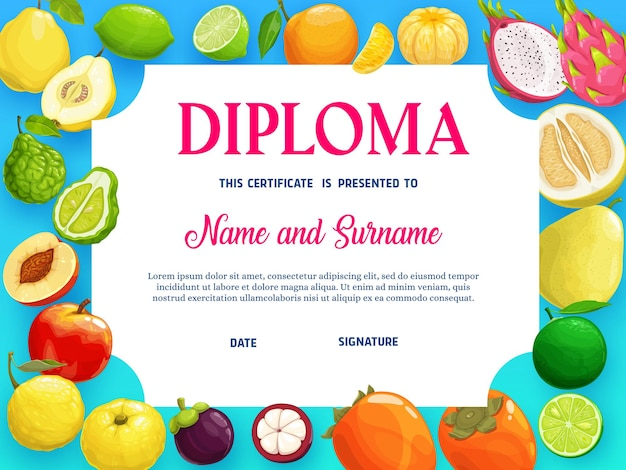 Education diploma with tropical fruits peach
