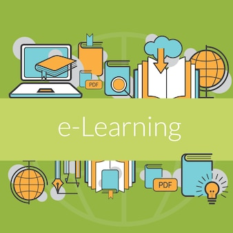 Education e-learning concept background