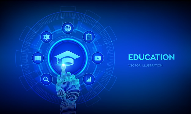 Education. e-learning concept. webinar, online training courses. hand touching digital interface.