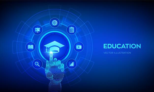 教育。 eラーニングの概念。ウェビナー、オンライントレーニングコース。手で触れるデジタルインターフェース。